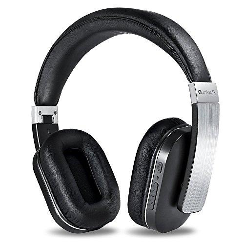 AudioMX Bluetooth ワイヤレスヘッドホン 密閉型 内蔵マイク オーバーヘッド 20時間連続稼働 シルバー
