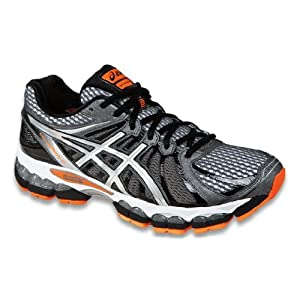 ASICS Men's GEL-Nimbus 15 Running Shoe,Storm/Black/Flash Orange,10.5 M US