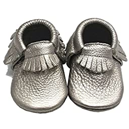 Mejale Baby Metallic Soft Sole Moccasin Tassel Infant Toddler First Walker Boys Shoes