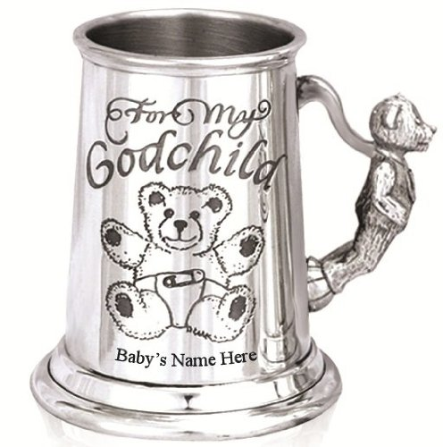 Personalised Engraved Baby Gift - A Stunning Pewter Christening Tankard - 'Godchild' Design with a Cute Teddy Handle - Ideal Christening Gift