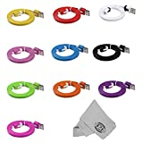 PL High Quality 8 Pin Flat Noodle USB Cable for iPhone 5/5C/5S, iPad Air/4/Mini, iPod Touch 5G/Nano 7G (10x USB(1 of each color))