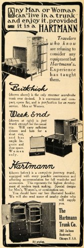 1910 Ad Hartmann Trunk Berth-high Week End Wardrobe - Original Print Ad