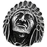 Surgical Steel Biker Ring Indian Chief Head 1 3/16 inch wide, sizes 9 - 15