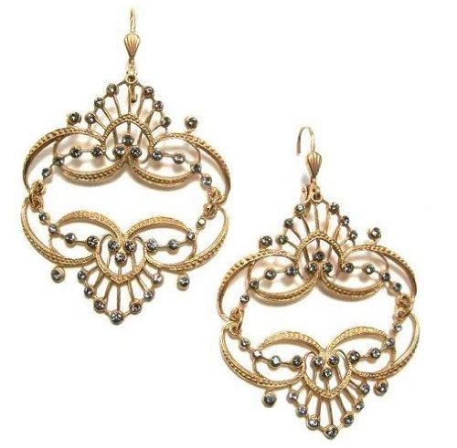 Catherine Popesco 14k Gold Plated Mirrored Tiara Earrings with Black Diamond Swarovski Crystal