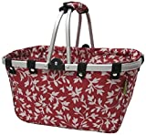 JanetBasket Red Floral Large Aluminum Frame Basket from Notions Marketing - Drop Ship