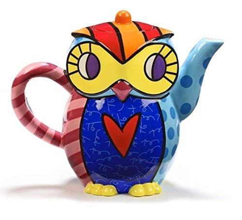 Ceramic Owl Design Teapot From Iconic Pop-artist Romero Britto. (Britto Teapot compare prices)