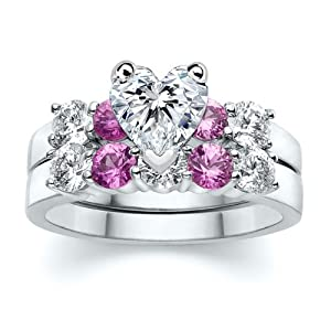 2.00 ct Heart Diamond with Round Pink Sapphire Ring Set