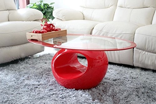 This glass coffee table looks elegant.