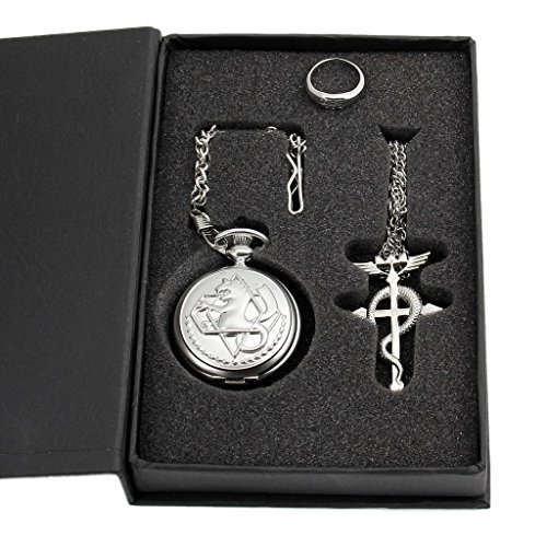 Metal Alchemist Edward Elric Pocket Watch Necklace and Ring - 1