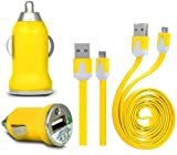 Wayzon YELLOW Vehical Travel iN Car Charger Adapter In Bullet Shape With Flat 2.0 Micro USB Sync Data Cable Lead Suitable For Nokia C7 Astound / E5 / E52 / E55 / E6 / E63 / E66 / E7 / E71 / E72