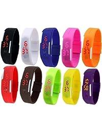 LEMONADE- Pack Of 10 - Multicolor Unisex Silicone Digital LED Band Wrist Watch For Boys, Girls, Men, Women