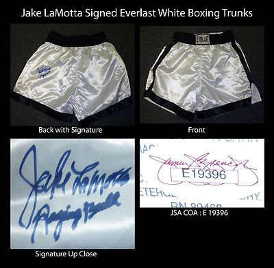 Jake LaMotta Signed Everlast Boxing Trunks Raging Bull Inscription JSA COA Auto - Autographed Boxing Robes and Trunks
