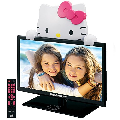 "Hello Kitty 19"" Led Tv Monitor And Stand. Gloss Black"