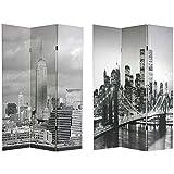 New York City Photograph Print Gift Idea - 6ft. Brooklyn Bridge & Empire State Bldg. Photo Print Folding Room Divider