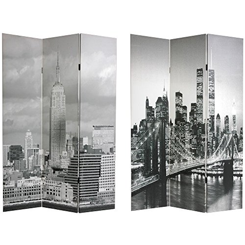 Oriental Furniture 6 ft. Tall Double Sided New York Scenes Room Divider
