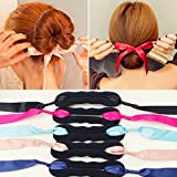 Elegant Ribbon Magic French Twist Bun Maker Clip Hook Holder Magic Roll Rings Donut Updo Chignon Former Pads Foam Sponge Hair Styler Curler Braid Ponytail Stick Hairstyle Styling Tool Accessories