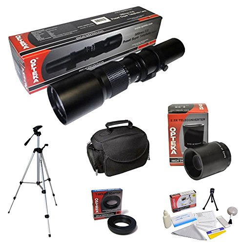 Opteka 500Mm-1000Mm Telephoto Lens Kit, Includes + Case + Tripod + Cleaning Kit + T Mount For Canon Eos 60D, 7D, 5D Mark Ii Iii, Rebel T3, T3I, T4I Digital Slr Cameras