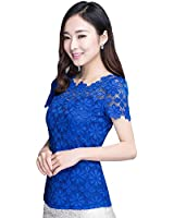 Tenflyer Korean Style Fashion Lace Lady Shirts Short Sleeve Womens Tops Blouses