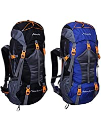 Attache 1025R Rucksack, Hiking Backpack 75Lts (Black & Royal Blue) Set Of 2 With Rain Cover
