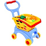 Arshiner Kids Little Supermarket Shopping Cart with Vegetable and Fruits