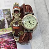New Butterfly Sense Fashion Vintage Retro Wrap Around Weave Leather Watch Bracelet WristWatch Wristband