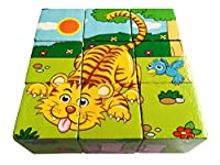 LONSOEN Cartoon Cube Block Wooden Jigsaw Puzzle 9pcs,Can Creat Six Forest Animals(Leopard/Zebra/Elephant/Hippo/Tiger/Rabbit) Pictures in One Puzzle Learning Educational Toy Gift Set for Kid Boy Girl by LONSOEN