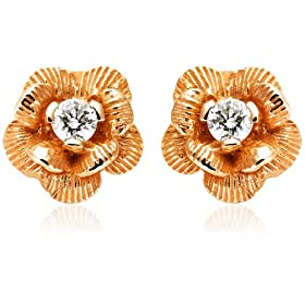 14k Rose, Yellow, or White Gold Diamond Flower Earrings (.12 cttw, J Color, I2 Clarity) from amazon.com