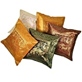 Ufc Mart Multi -Color Brocade Cushion Cover 5 Pc. Set, Color: Multi-Color, #Ufc00442