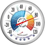 Springfield Outdoor Thermometer with Wind Chill-Heat Index and Hygrometer, 13.25-Inch