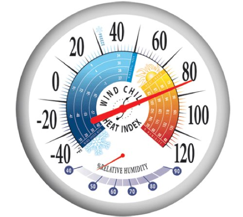 Springfield 90078 Round 13.25inch Outdoor Thermometer with Wind Chill-Heat Index and  Hygrometer
