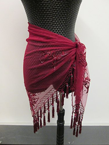 Handmade embroidery beaded triangle soft lace shawl hip scarf wrap with beaded Tassels - Burgundy