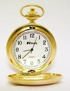 Ravel - Reloj de bolsillo con cadena y tapa, color dorado marca Ravel