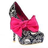 Iron Fist Night A Light Womens Platform Heels Shoes Footwear Skull Floral Navy