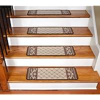 Dean Washable Non-Skid Carpet Runner Rug Stair Step Cover Treads - Caramel Scroll Border