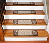 Dean Washable Non-Skid Carpet Runner Rug Stair Step Cover Treads - Caramel Scroll Border