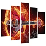 Five Picture Modern Red Canvas Art Wall Prints Boys Room Guitars 5065