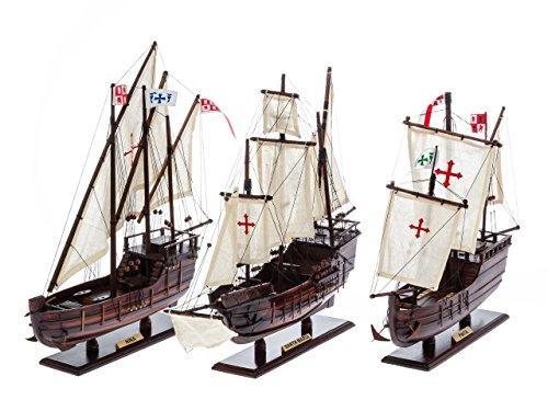 Columbus Nautical memorabilia fleet - set of 3 model ships - Santa María, Pinta, Santa Clara/Niña - caravel boats