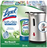 Lysol No-Touch Soft on Skin Antibacterial Hand Soap System, Stainless Look; Moisturizing Aloe & Vitamin E Refill (Packaging may vary)