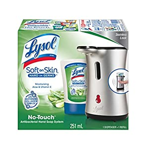 Lysol Healthy Touch Hand Soap, Starter Kit Stainless, Aloe, 8.50-Ounce