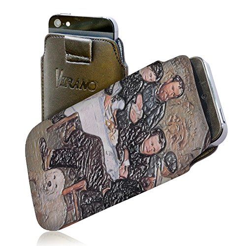 Renoir - The Cabaret Of Mm Antony, Pull Tab Texture Portafoglio Custodia Protettiva in PU Pelle Wallet Case Cover Shell Borsa Copertura Nero con Design Strutturato per Huawei P8.