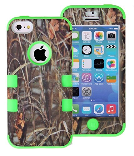 Mylife Lime Green + Tall Grass Camo Style 3 Layer (Hybrid Flex Gel) Grip Case For New Apple Iphone 5C Touch Phone (External 2 Piece Full Body Defender Armor Rubberized Shell + Internal Gel Fit Silicone Flex Protector)