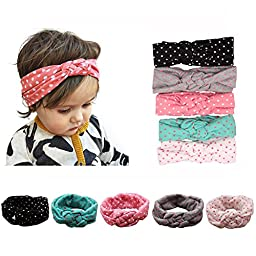 Baby Girls Cotton Turban Headbands (5 Pieces Dot Knotted Turban)
