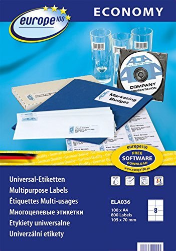 Avery Dennison Zweckform 100 ELA036 Lot de 800 étiquettes universelles 105 x 70 mm (Blanc) (Import Allemagne)