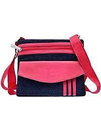 Tap Fashion Pink Denim Sling Side Bag Cross Body Multi Pocket Purse For Women & Girls