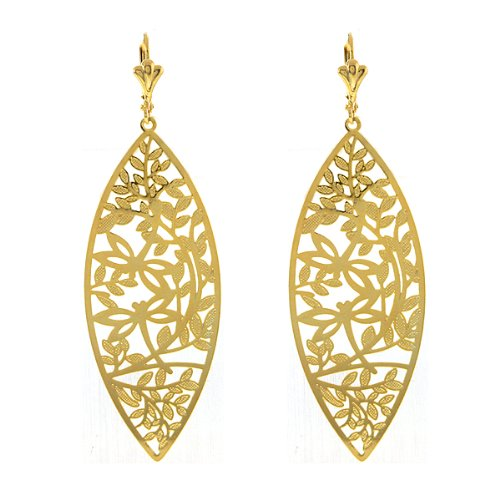 2.75″ Leave Shape With Dragon Fly Design Yellow Gold Plated Dangle Earrings