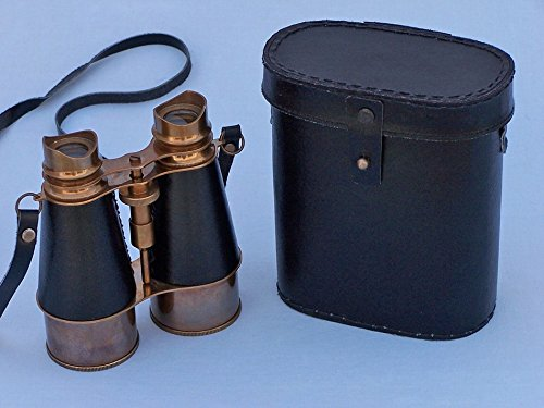 "Antique Brass Binoculars W/ Leather Belt And Leather Case 6"" - Nautical Theme"