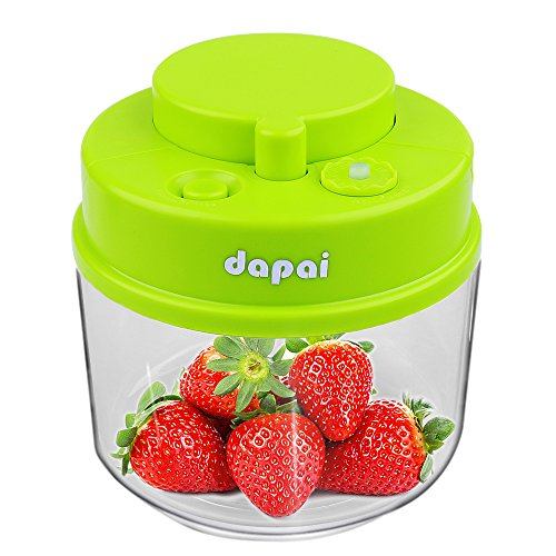 Dapai Vacuum Sealed Food Storage Container,3/4 Quart BPA-free Plastic Tea,Coffee,Cookie,Sugar Vacuum Canister,No Need Vacuum Pump(Green) (Vacuum Sealed Weed Container compare prices)