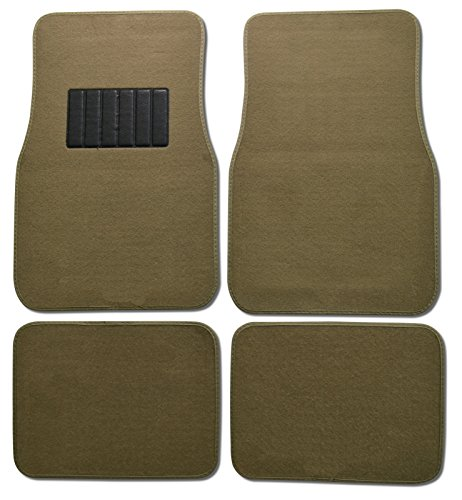 Bdk Carpeted 4 Piece Mat With Vinyl Heel Pad Car Vehicle Universal Fit (Medium Beige) front-343871
