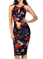 Miusol® Women's Key Hole Sexy Sleeveless Fitted Summer Flare Floral Casual Dress