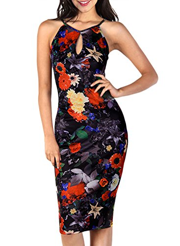 Miusol® Women's Key Hole Sexy Sleeveless Fitted Summer Flare Floral Dress